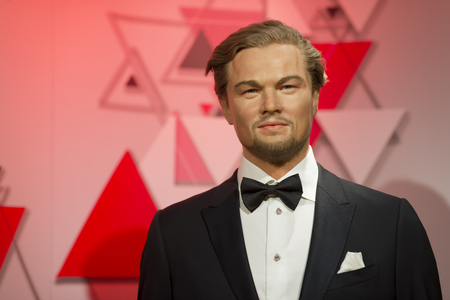 Wax sculpture of Leonardo DiCaprio at Madame Tussauds Istanbul. Leonardo DiCaprio is an American actor, film producer, and environmental activist.