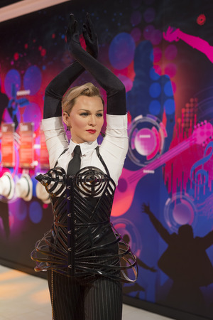 Wax sculpture of Madonna at Madame Tussauds Istanbul. Madonna Louise Ciccone is an American singer, songwriter, actress, and businesswoman.