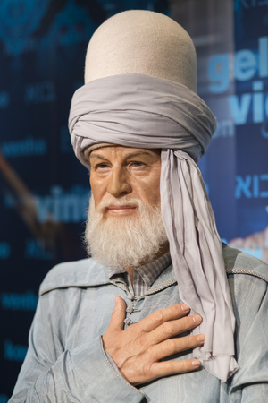 Wax sculpture of Mevlana at Madame Tussauds Istanbul. Mevlana was a 13th-century Persian, Sunni Muslim poet, jurist, Islamic scholar, theologian and Sufi mystic. Editorial