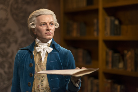 Wax sculpture of Wolfgang Amadeus Mozart at Madame Tussauds Istanbul. Mozart was a prolific and influential composer of the Classical era. Editorial