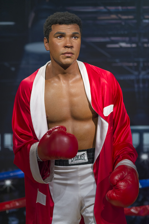 Wax sculpture of Muhammad Ali at Madame Tussauds Istanbul. Muhammad Ali died on June 3, 2016 was an American professional boxer and activist.