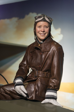 Wax sculpture of Sabiha Gokcen at Madame Tussauds Istanbul. Sabiha Gokcen was a Turkish aviator. She was the first Turkish female combat pilot