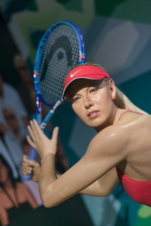 Wax sculpture of Maria Sharapova, a Russian professional tennis player at Madame Tussauds Istanbul.