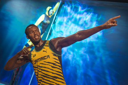 Wax sculpture of Usain Bolt, a retired world record holder Jamaican sprinter, at Madame Tussauds Istanbul. 新聞圖片