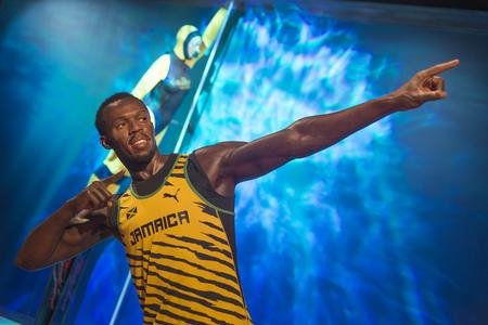 Wax sculptuur van Usain Bolt, een gepensioneerde wereldrecordhouder Jamaicaanse sprinter, bij Madame Tussauds Istanbul.