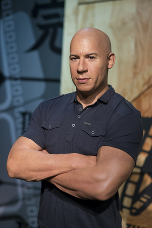 Wax sculpture of Vin Diesel also known as Mark Sinclair, an American actor, producer, director and screenwriter, at Madame Tussauds Istanbul.