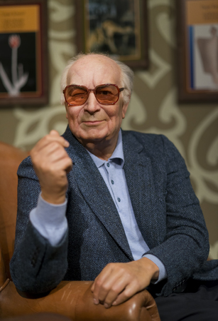 Wax sculpture of Yasar Kemal, a Turkish writer and human rights activist on display at Madame Tussauds Istanbul.