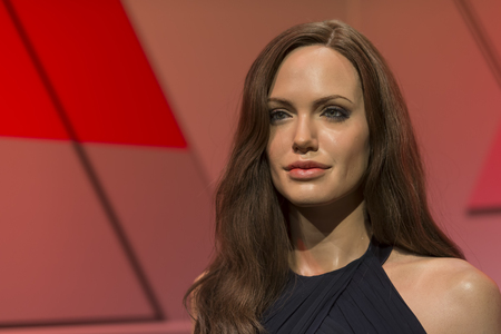 Wax sculpture of Angelina Jolie at Madame Tussauds Istanbul. Angelina Jolie is an American actress, filmmaker, and humanitarian.