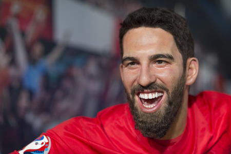 Wax sculpture of Arda Turan at Madame Tussauds Istanbul. Arda Turan is a Turkish professional footballer who plays for Spanish club FC Barcelona. Editorial