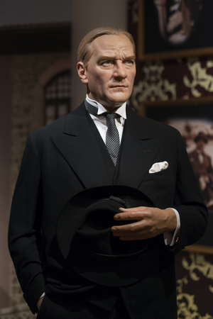 Wax sculpture of Mustafa Kemal Ataturk at Madame Tussauds Istanbul. Kemal Ataturk was a Turkish army officer, revolutionary, and founder of the Republic of Turkey.