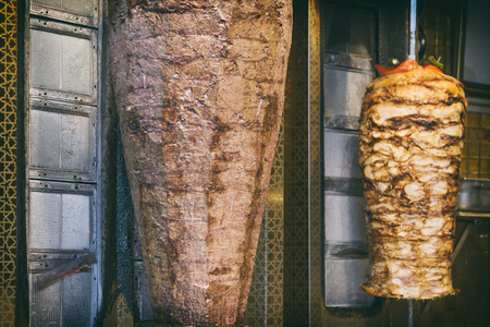 Chicken And Beef Doner Kebab On A Vertical Skewer