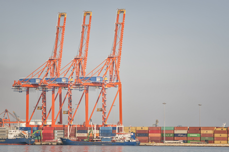 Telephoto shot of Mersin Port, Mersin is a large city and a port on the Mediterranean coast of southern Turkey. Stock Photo