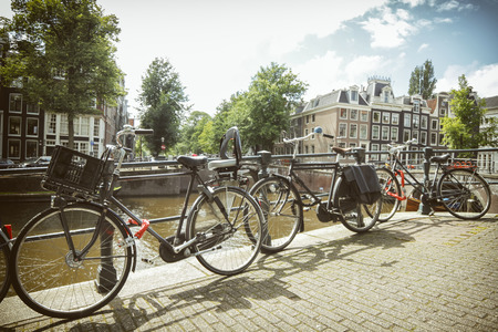 Bicycles Parked Near Amstel River, Amsterdam, Netherlands