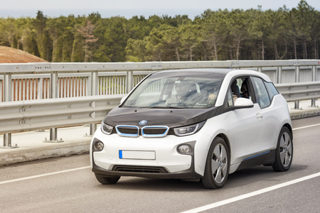 Exterior shot of BMW i3, a B-class, high-roof hatchback manufactured and marketed by BMW with an electric powertrain using rear wheel drive.