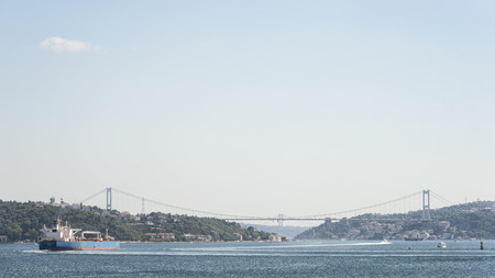 Wide angle view from Bosphorus Strait, a narrow, natural strait and an internationally significant waterway located in northwestern Turkey. Istanbul, Turkey