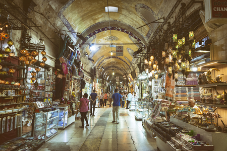 Interior detail from Kapali Carsi (Grand Bazaar), one of the largest and oldest covered markets in the world, with 61 covered streets. Istanbul, Turkey. Editorial