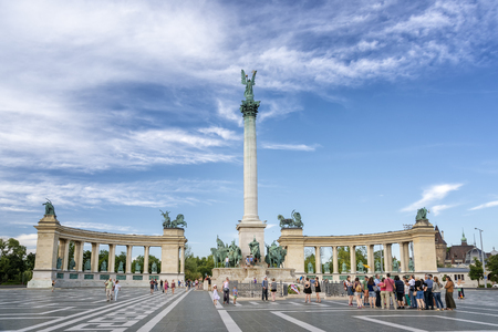 People visiting Heroes Square (Hosok Tere), one of the major squares in Budapest. Budapest, Hungary Sajtókép