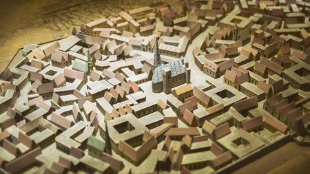 Miniature model of old Vienna St. Stephen's Church in Prater park, Vienna. Austria Stock Photo