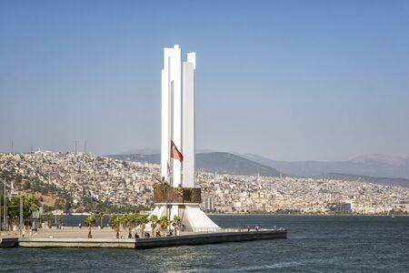 Coastal view and Monument of Ataturk and Modern Turkish Woman at Karsiyaka, Izmir. Turkey.