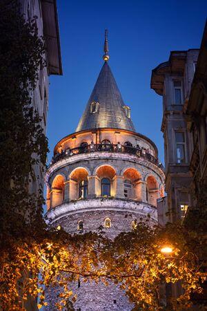 Galata Tower at Night, Beyoglu, Istanbul, Turkey
