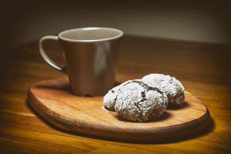 Coffee Cup And Cracked Chocolate Cookies