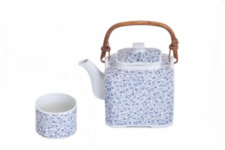 Chinese Style Teapot And Cup Isolated On White Background