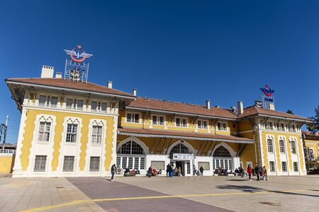 Exterior shot of Adana Railway Station, a railway station in Adana and one of the major railway hubs in Turkey.