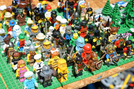 Lego character figures on sale at fleamarket, Budapest, Hungary.