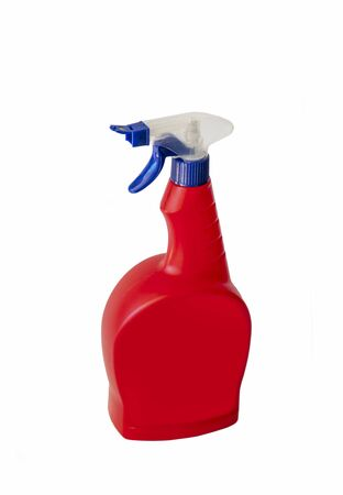 Red Hygienic Cleaning Spray, Isolated On White Background