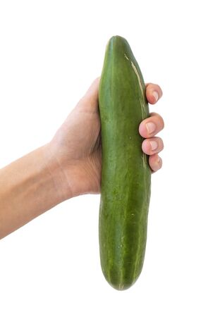 Hand Holding Huge Green Cucumber Isolated On White Background