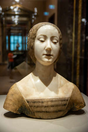 Female bust from 15th century on display at Kunsthistorisches Museum (Museum of Art History) an art museum in Vienna, Austria.