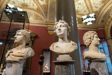 Three romanesque busts from Kunsthistorisches Museum (Museum of Art History) an art museum in Vienna, Austria. Editorial