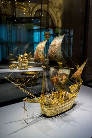 Automaton in the form of a ship on display inside the treasury section of Kunsthistorisches Museum (Museum of Art History) an art museum in Vienna, Austria. Editorial