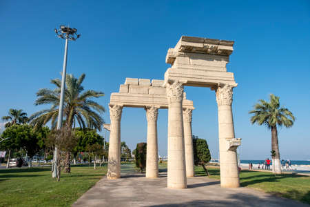 Replica of an ancient ruin from the coastline of Mezitli, a neighborhood of Mersin, Mersin is a large city and a port on the Mediterranean coast of southern Turkey. Editorial
