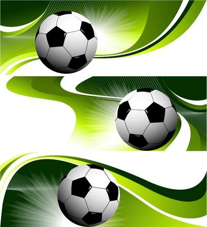 Tre striscioni calcio Vettoriali