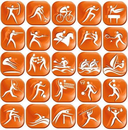 Set os orange sport icons  Illustration