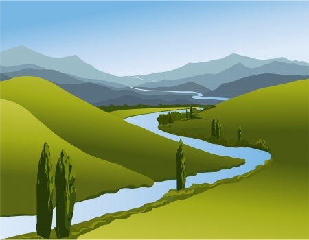 panoramic view: Mountain landscape  with river Illustration