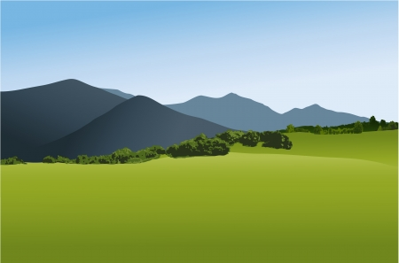 panoramic sky: Mountain landscape with green field