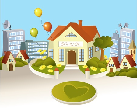 nice house: Happy school  Illustration