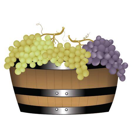 Grapes in barrel