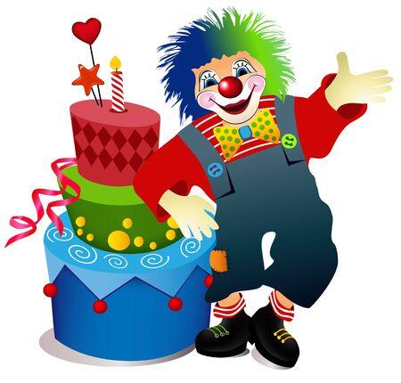Clown with birthday cake  Vector