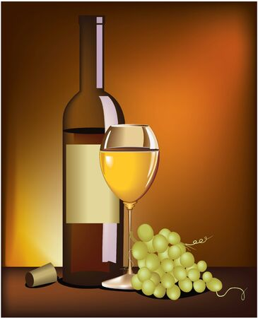 food and drinks: Wine and grapes Illustration