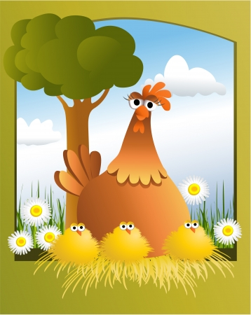 Easter card with chickens  Vector