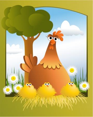 arbol de pascua: Tarjeta de Pascua con pollos Vectores