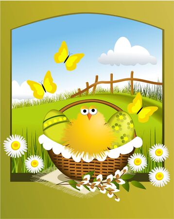 Easter basket and spring rural landscape  Vector