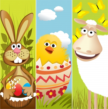 Three Easter banners Stock Vector - 14020141