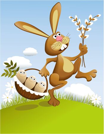 cartoon easter: Easter rabbit  Illustration