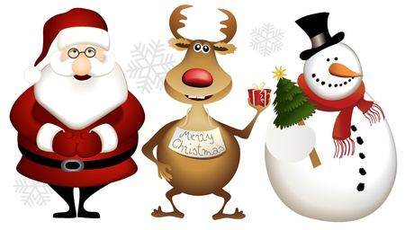 reindeer christmas: Santa Claus, los renos y el mu�eco de nieve - de dibujos animados de Navidad h�roes Vectores