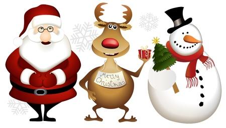 Santa Claus, reindeer and snowman - cartoon Christmas heroes  Illustration