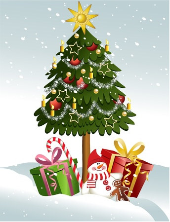 snow trees: Cartoon Christmas tree with gifts
